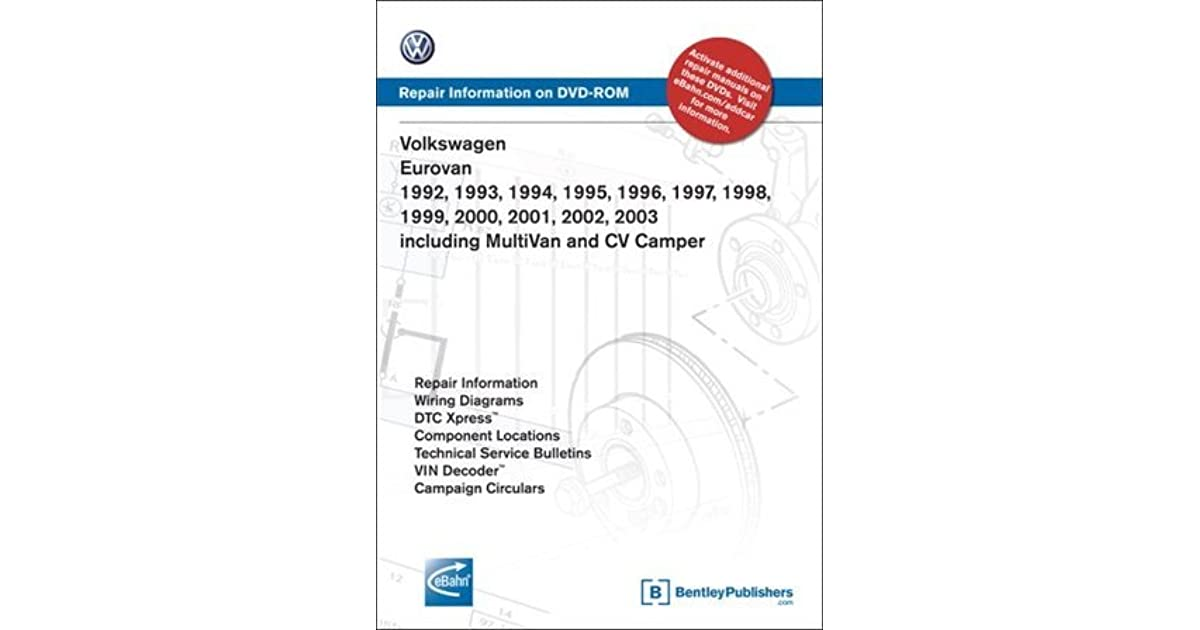 volkswagen eurovan 1992, 1993, 1994, 1995 1996, 1997, 1998, 1999 2000,  2001, 2002, 2003: repair manual on dvd-rom: including multivan and cv  camper by