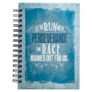 Journal - Wirebound - Canvas - Blue - Run W/ Perseverance