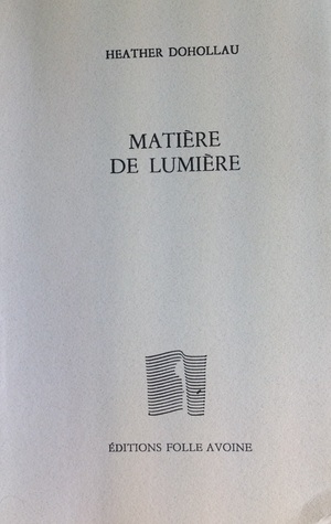 Matière de lumière