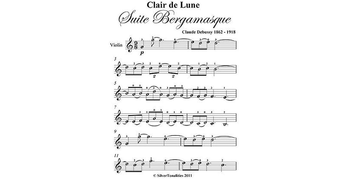 Clair De Lune Debussy Easy Violin Sheet Music By Claude Debussy