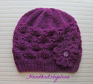 Knitting Pattern Hat with Textured Rhombuses for a Lady in Two Sizes Yelena Chen