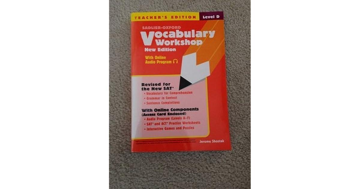 Sadlier Oxford Vocabulary Workshop New Edition Level D