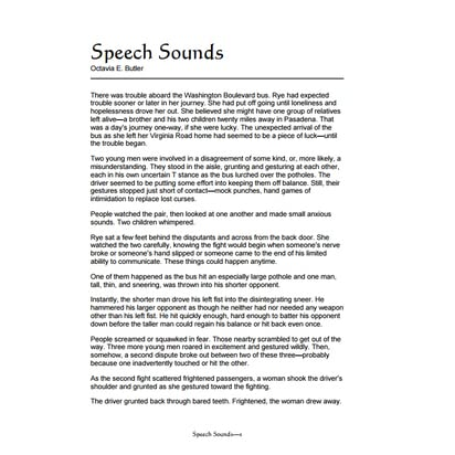 speech sounds octavia butler essay