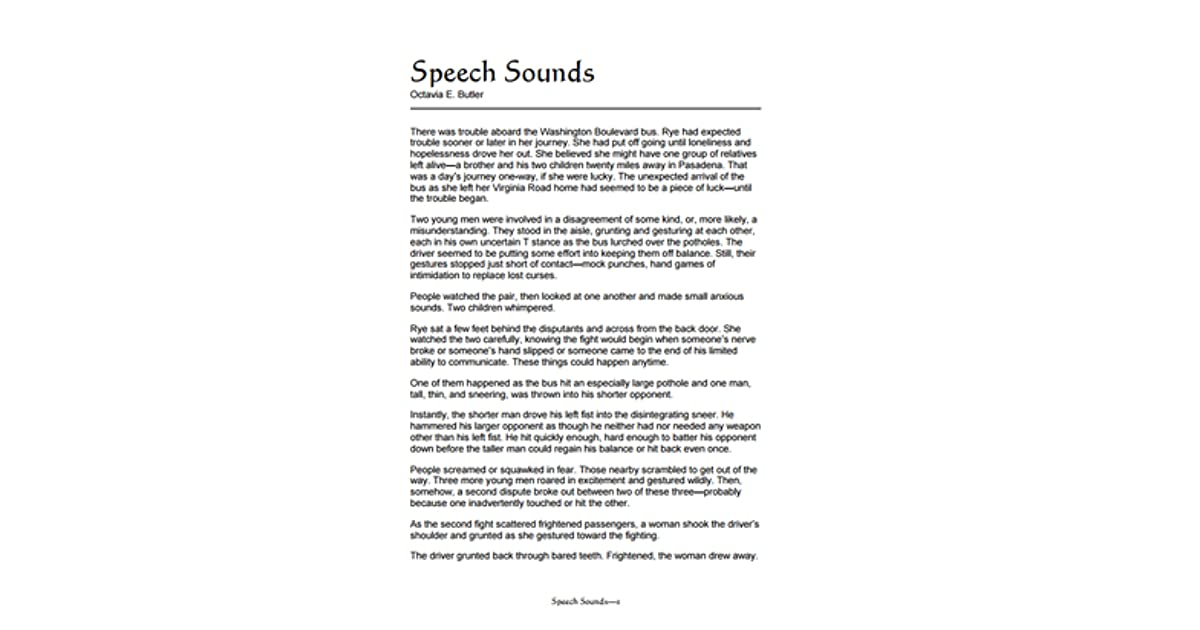 Speech Sounds by Octavia Butler