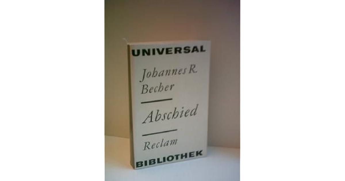 Abschied Roman By Johannes R Becher