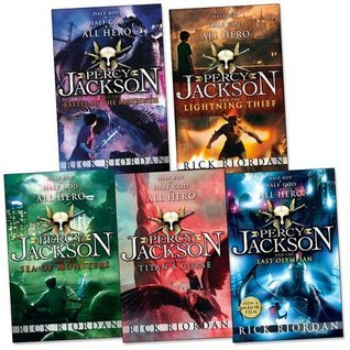 Percy Jackson Pack, 5 books, (Battle Of The Labyrinth; LightningThief; Last Olympian; Sea of Monsters; Titan's Curse)
