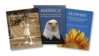 Alzheimer's / Dementia Interactive Activity Books for Patients and Caregivers - Three Books: Flowers, America, & Fun and Games