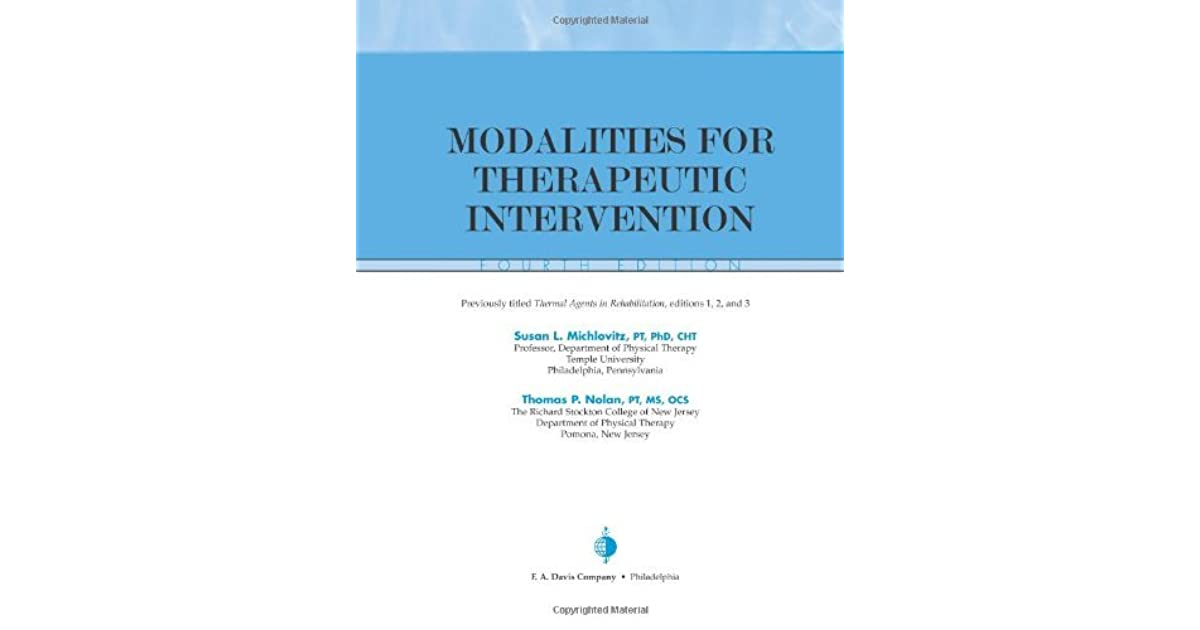 michlovitzs modalities for therapeutic intervention contemporary perspectives in rehabilitation