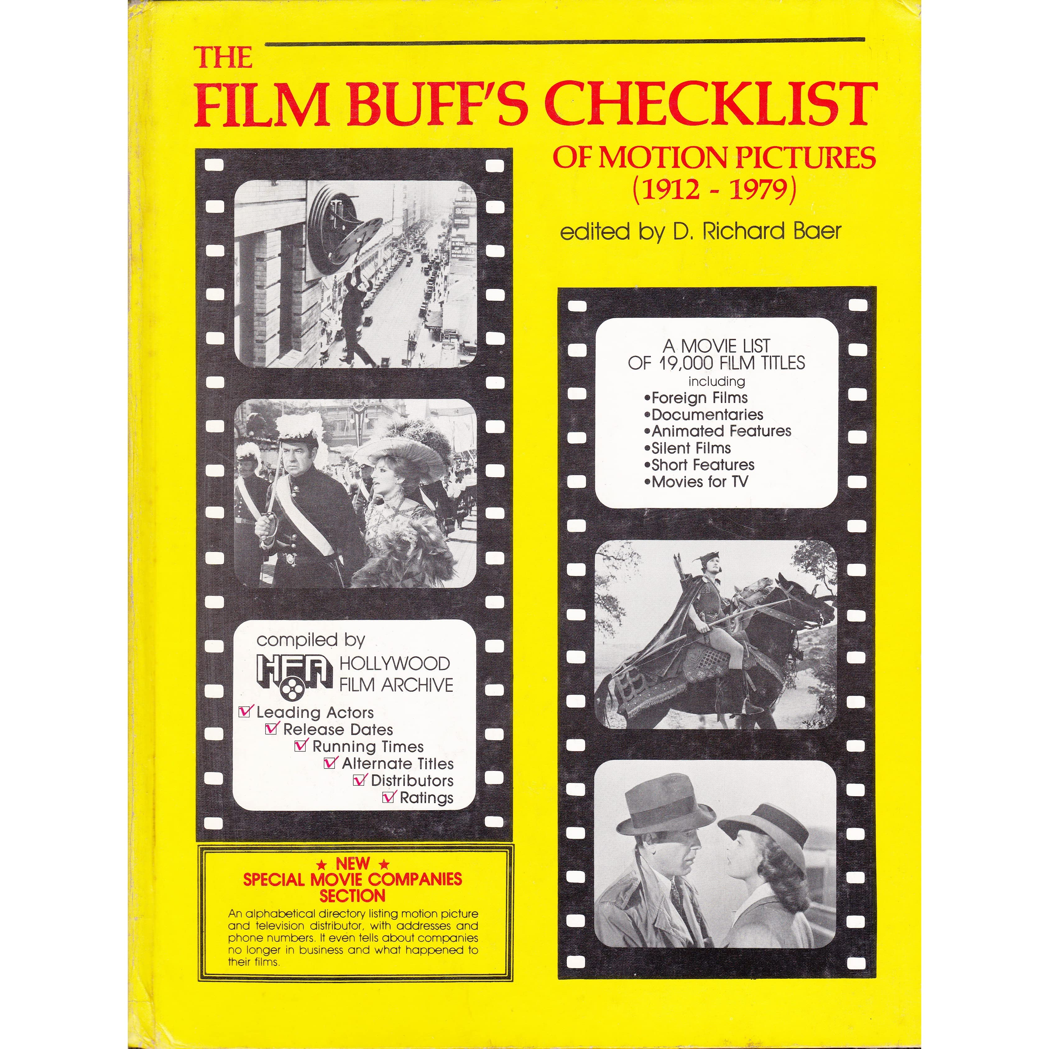 the film buff s checklist of motion pictures by d richard baer