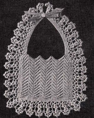 Ripple Baby Bib with Deep Shell Border Vintage Crochet Pattern EBook Download (Needlecrafts)