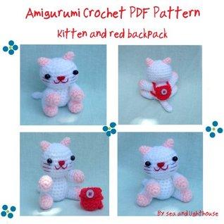 Kitten and red backpack Amigurumi Dolls Crochet Pattern
