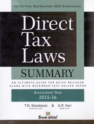 Direct Tax Laws Summary By T.N. Manoharan For CA Final