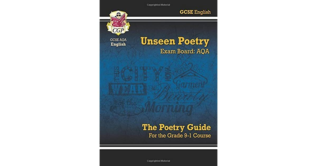 Poetry Book Cover Guide ~ New gcse english literature aqa unseen poetry guide for
