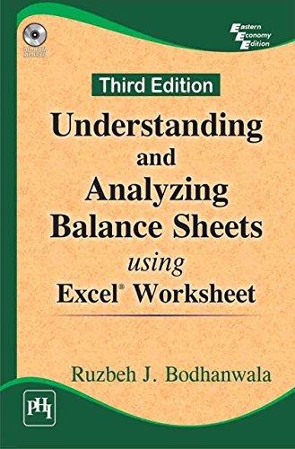 Understanding and Analysing Balance Sheets: Using Excel Worksheet Ruzbeh J. Bodhanwala