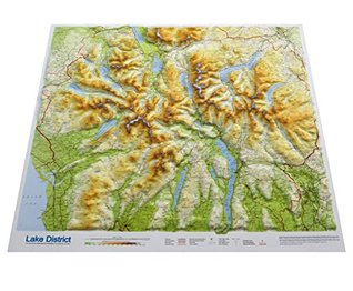 relief map of lake district Lake District Raised Relief Map Unframed Plus Detailed Helvellyn Flat Laminated Wall Map By Dorrigo relief map of lake district