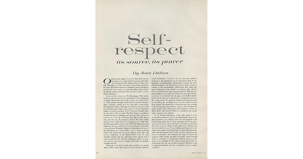 on self respect by joan didion
