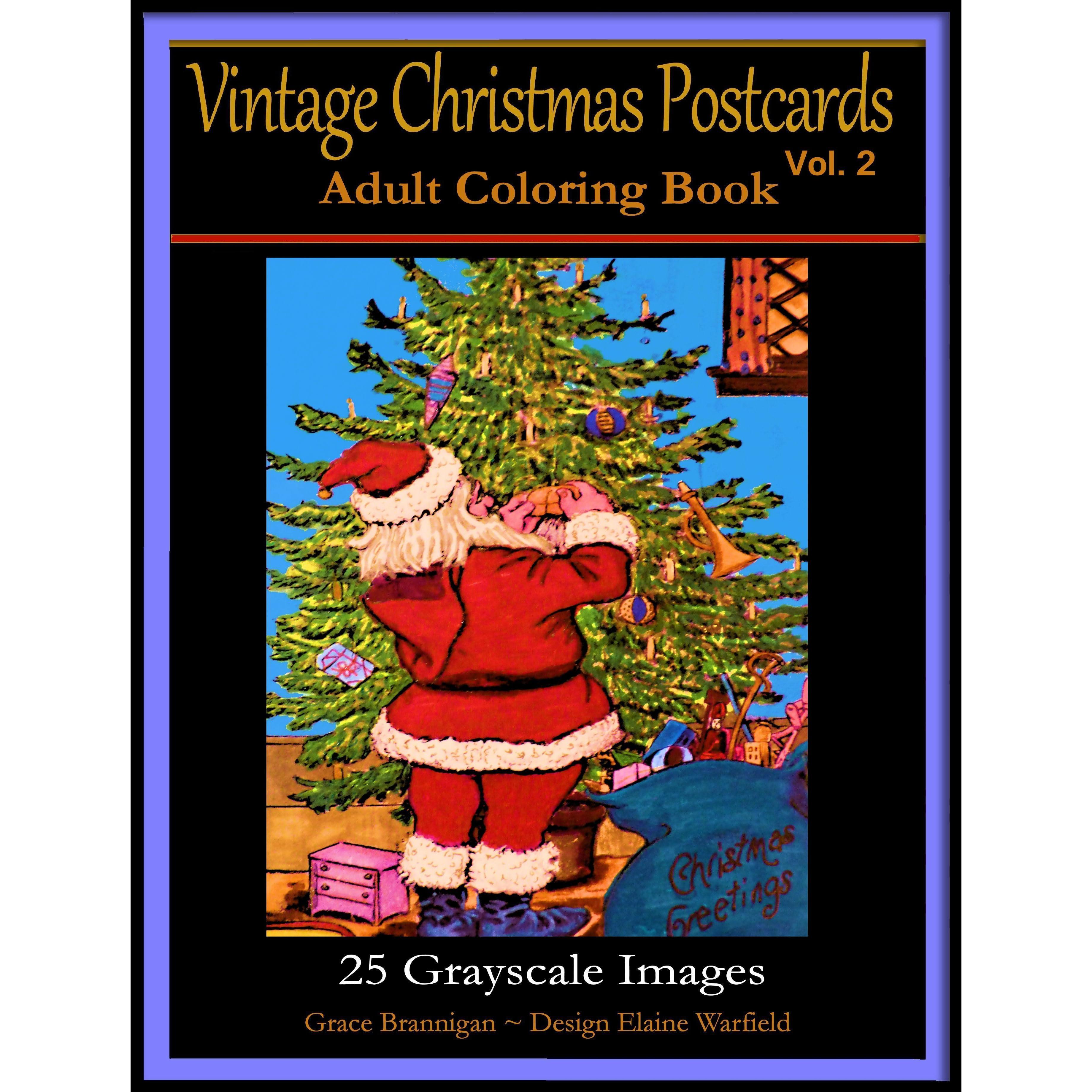 vintage christmas postcards vol 2 adult coloring book 25 grayscale images adult coloring book by grace brannigan