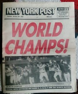 New York Post newspaper, Oct 28, 1986, Mets World Champs