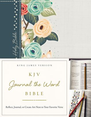KJV, Journal the Word Bible, Cloth over Board, Green Floral, Red Letter Edition: Reflect, Journal, or Create Art Next to Your Favorite Verses