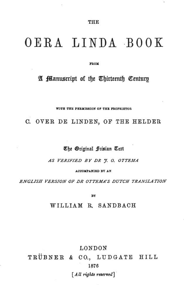 Oera Linda Book Sandbach 1876