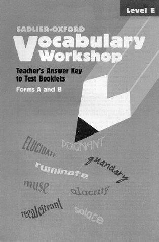 Vocabulary Workshop Teacher S Answer Key To Test Booklets