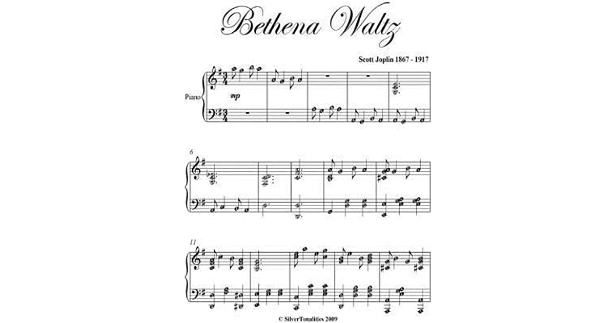 Bethena Waltz Joplin - Intermediate Piano Sheet Music by