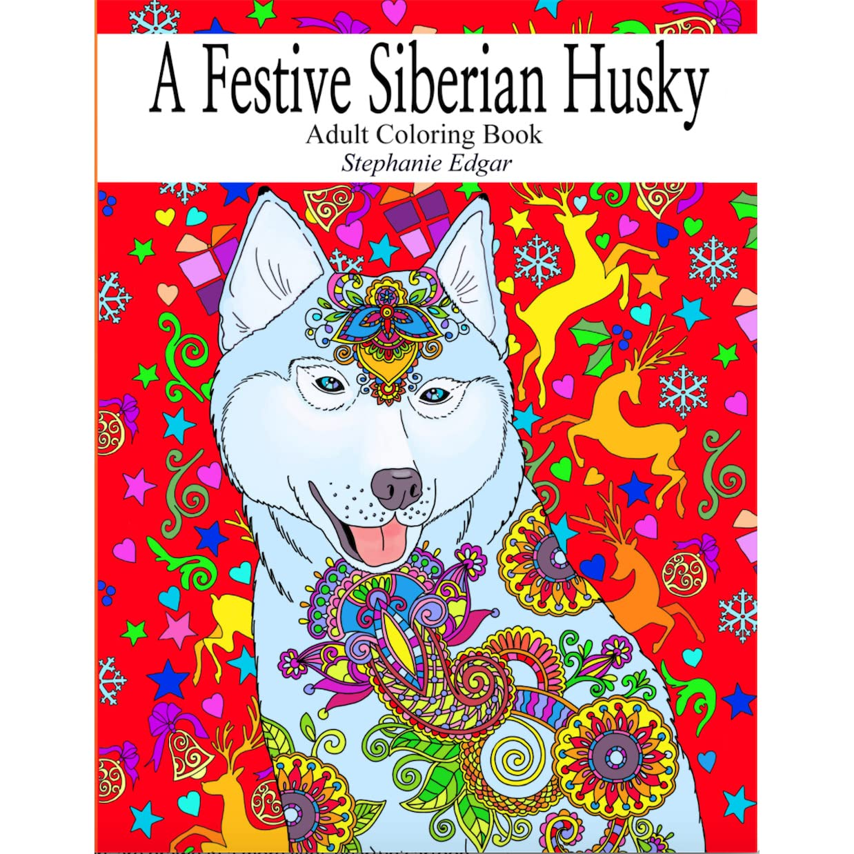 Book Giveaway For A Festive Siberian Husky Adult Coloring