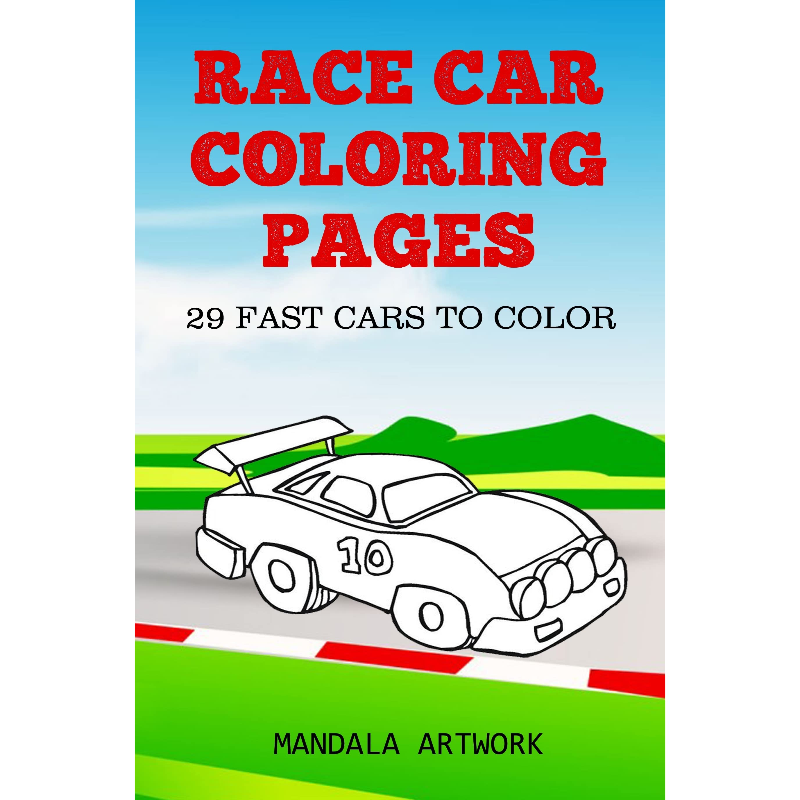 Race Car Coloring Pages 29 Fast Cars To Color By Mandala Artwork