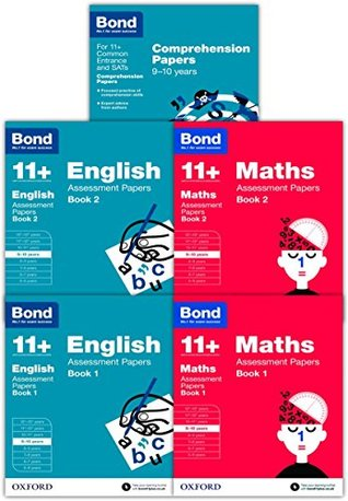 Bond 11+ plus English and Maths Assessment Papers for 9-10+ years (Book 1 to 2 ) and English Comprehension Papers 5 Children's Learning Books Bundle Collection (Oxford)