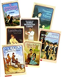 Historical Biography Books (12) : Jackie Robinson - Against All Odds - The Wright Brothers - George Washington Carver - Squanto - They Made a Revolution - Lous Braille - Helen Keller's Teacher (Scholastic Biography Library for Kids : Grade 3 - 4)