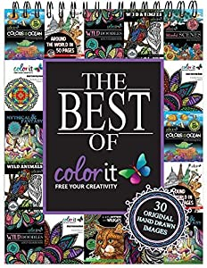 Spiral-Bound Adult Coloring Book With 30 Pages of Designs That Include Mandalas, Doodles, Animals, Fantasy Characters, Scenery, and Landscape Drawings by ColorIt