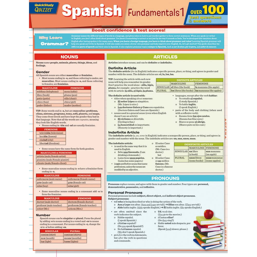 Spanish Fundamentals 1 Quizzer by BarCharts, Inc