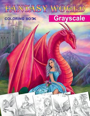 Fantasy World. Grayscale Coloring Book: Adult Coloring Book ...