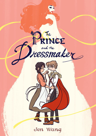Book cover for the Prince and the Dressmaker, showing a young prince and a dressmaker holding a tape measure.