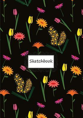 Sketchbook: Black Wallpaper Flower: 110 Pages of 7 X 10 Blank Paper for Drawing, Doodling or Sketching John Harry