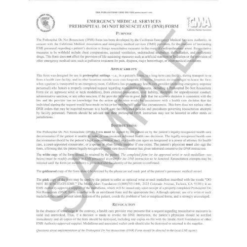Do Not Resuscitate (DNR) Form by California Medical Association