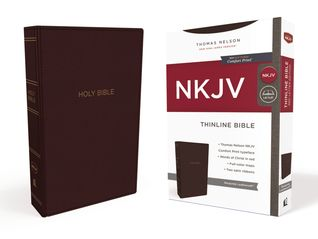 NKJV, Thinline Bible, Leathersoft, Burgundy, Red Letter Edition, Comfort Print: Holy Bible, New King James Version