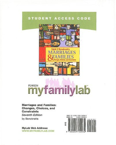MySocLab -- Standalone Access Card -- for Marriages and Families (7th Edition) (Myfamilylab Nijole V. Benokraitis