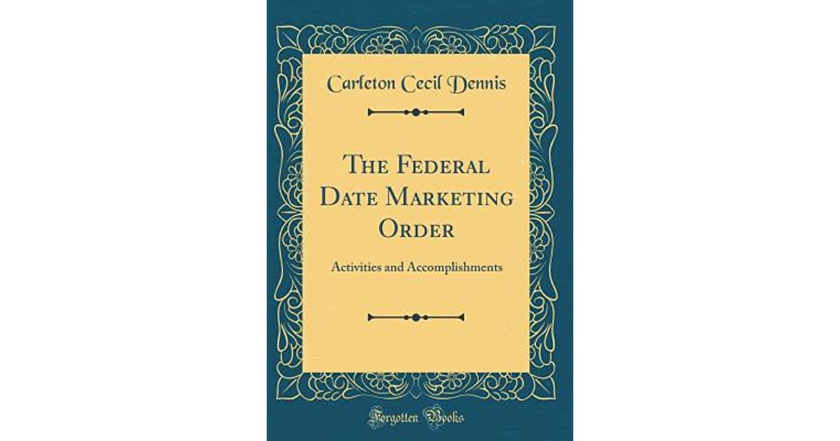 The Federal Date Marketing Order: Activities and
