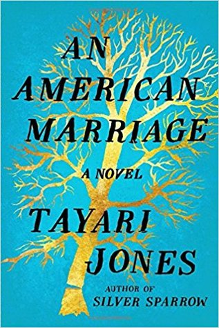 An American Marriage book cover (an intricate, metallic gold silhouette of a leafless tree, as it is falling over, on a teal background)