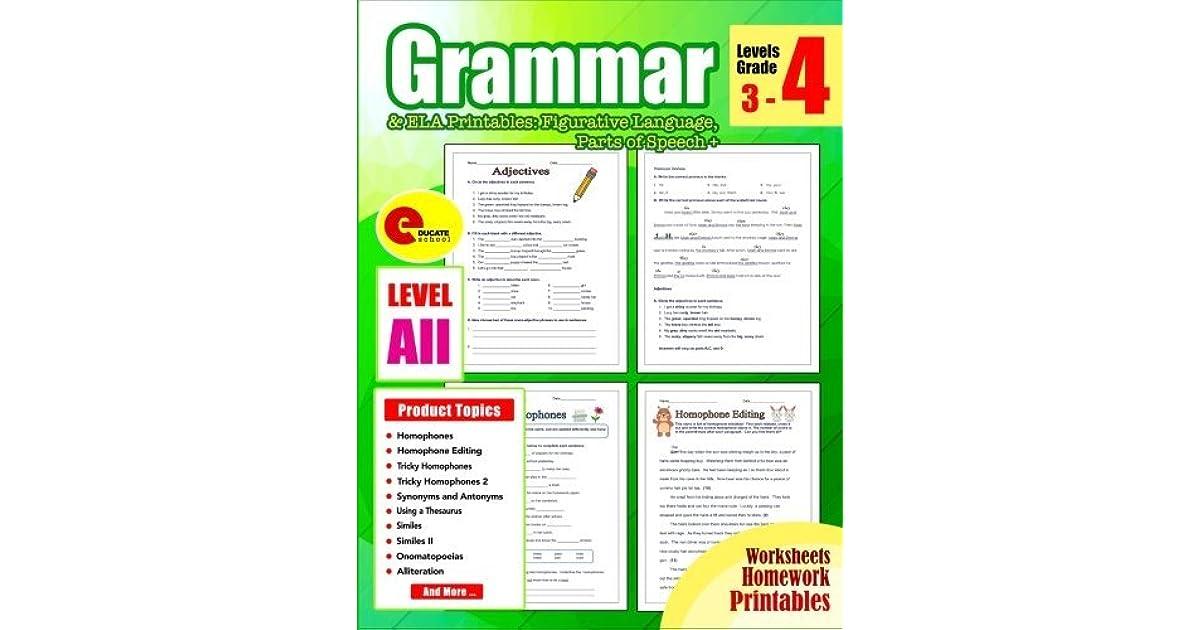 Grammar 4th Grade: Grammar Workbook Grade 4 Ela Printables