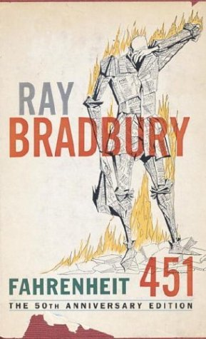 "Book cover of ""Fahrenheit 451"" by Ray Bradbury"