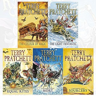 discworld novel series 1 :1 to 5 books collection set (the colour of magic, the light fantastic, equal rites, mort, sourcery)