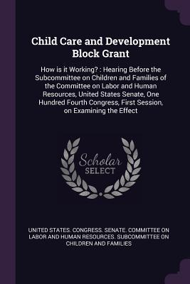 Child Care and Development Block Grant: How Is It Working?: Hearing Before the Subcommittee on Children and Families of the Committee on Labor and Human Resources, United States Senate, One Hundred Fourth Congress, First Session, on Examining the Effect