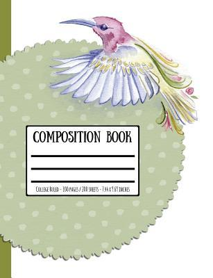 Watercolour Bird Composition Book: College Ruled - 100 Pages / 200 Sheets - 7.44 X 9.69 Inches