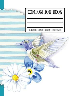 Watercolour Bird & Flowers Composition Book: College Ruled - 100 Pages / 200 Sheets - 7.44 X 9.69 Inches