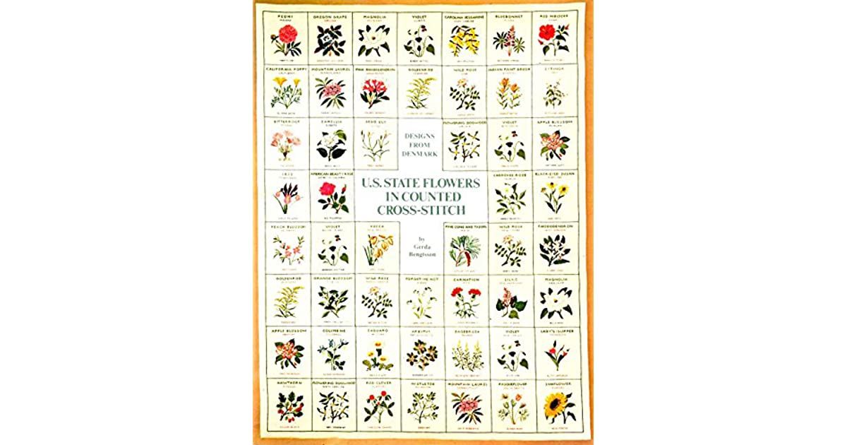 Us State Flowers In Counted Cross Stitch By Gerda Bengtsson