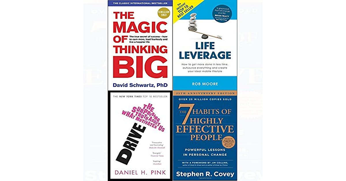 Magic of thinking big, drive, life leverage, 7 habits of
