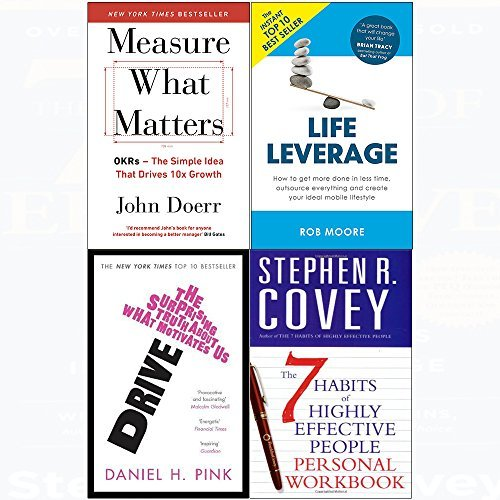7 Habits of highly effective people personal workbook, measure what matters, drive, life leverage 4 books collection set