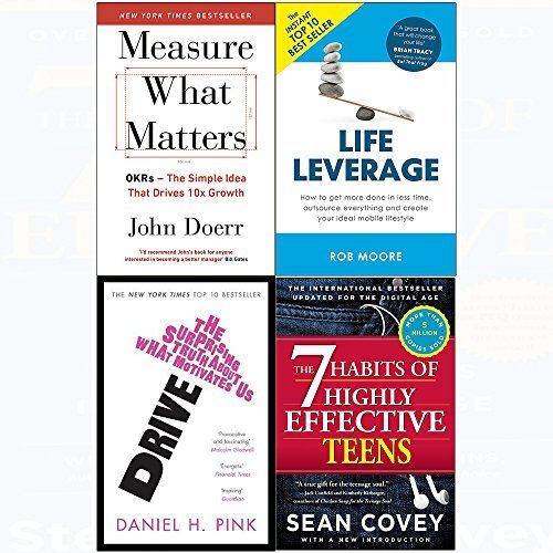 7 Habits of highly effective teens, measure what matters, drive, life leverage 4 books collection set